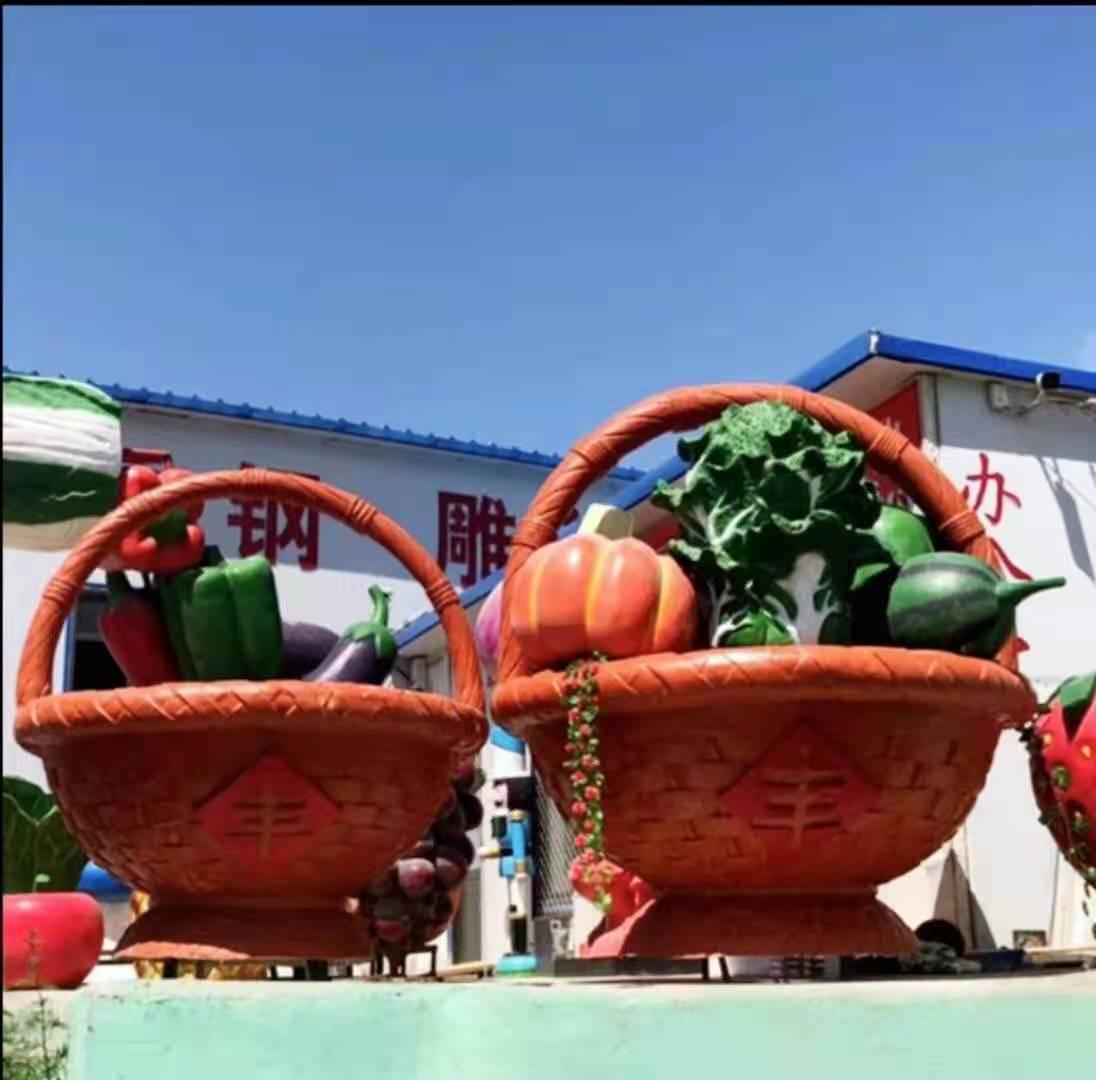 蔬菜雕塑厂家批发 广场水果花篮雕塑供应商 设计精美